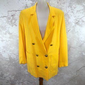 Vintage Yellow Double Breasted Women's Blazer 8